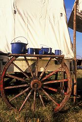 Wagon wheel table with blue pots and cups
