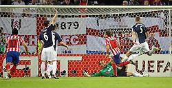 12.05.2010,  Fussball Europa-League 2009/2010 Finale: Atletico Madrid - FC Fulham, in der Hamburger HSH-Nordbank-Arena,  Tor zum 1:0 für Atletico Madrid.