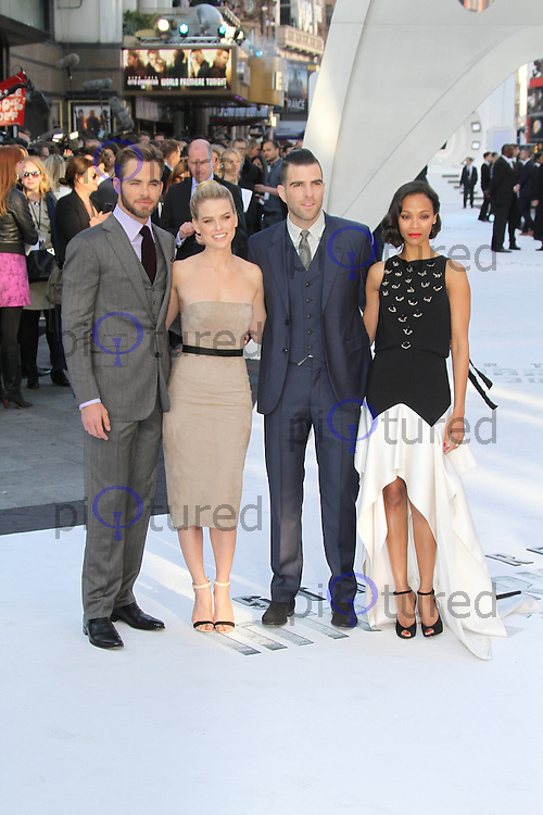 Chris Pine; Alice Eve; Zachary Quinto; Zoe Saldana, Star Trek Into Darkness London Film Premiere, Empire Cinema Leicester Square, London UK, 02 May 2013, (Photo by Richard Goldschmidt)
