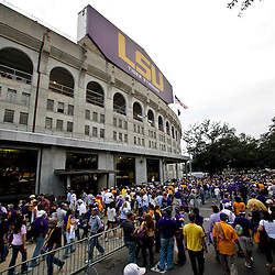 November 13, 2010; Baton Rouge, LA, USA; Fans file into the stadium prior to kickoff of a game between the LSU Tigers and the Louisiana Monroe Warhawks at Tiger Stadium.  Mandatory Credit: Derick E. Hingle