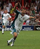 Photo: Paul Thomas.<br /> Crewe Alexandra v Liverpool. Pre Season Friendly. 22/07/2006.<br /> <br /> Craig Lindfield celebrates his goal.