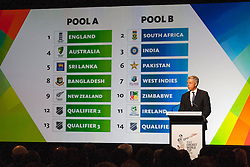 © Licensed to London News Pictures. 30/7/2013. CEO of the international cricket council David Richards announces the pools of the 2015 cricket world cup during the official launch of the I.C.C Cricket World Cup to be held in Australia and New Zealand in 2015, Melbourne, Australia. Photo credit : Asanka Brendon Ratnayake/LNP