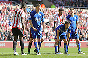 Leicester City defender Robert Huth (6)  and Leicester City forward Jamie Vardy (9)  wait for the corner during the Barclays Premier League match between Sunderland and Leicester City at the Stadium Of Light, Sunderland, England on 10 April 2016. Photo by Simon Davies.