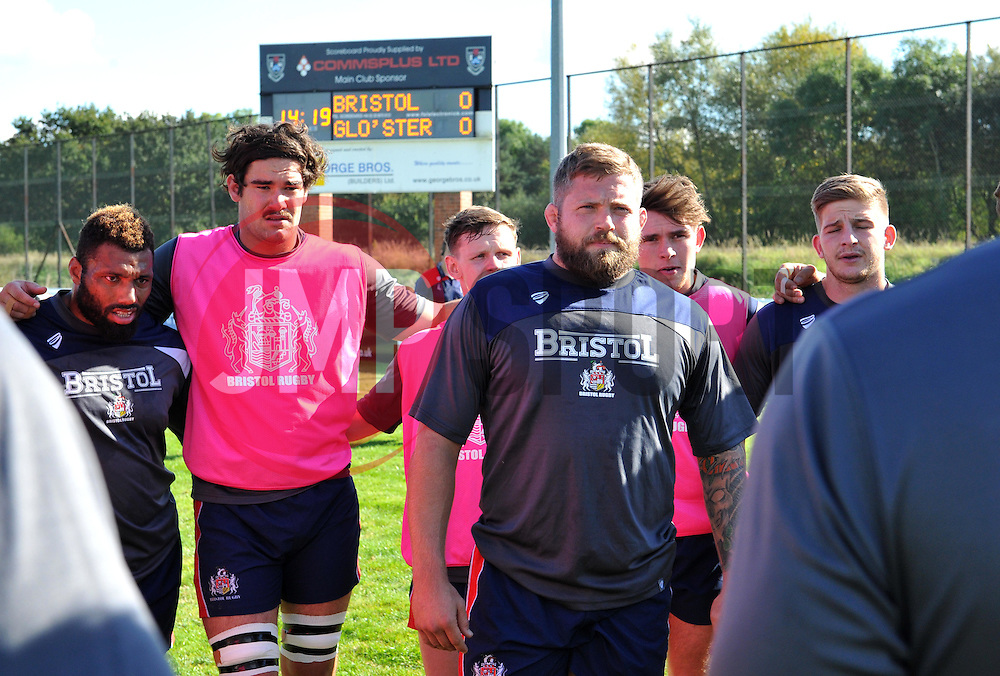 Chris Brooker of Bristol United in team huddle ahead of A League fixture against Gloucester United - Mandatory by-line: Paul Knight/JMP - 02/10/2016 - RUGBY - Hyde Park - Taunton, England - Bristol United v Gloucester United - Aviva A League