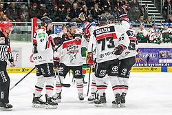 12.12.2014, Curt Fenzel Stadion, Augsburg, GER, DEL, Augsburger Panther vs Koelner Haie, 26. Runde, im Bild die Mannschaft freut sich ueber das Tor von Chris Minard #41 (Koelner Haie) // during Germans DEL Icehockey League 26th round match between Adler Mannheim and Koelner Haie at the Curt Fenzel Stadion in Augsburg, Germany on 2014/12/12. EXPA Pictures © 2014, PhotoCredit: EXPA/ Eibner-Pressefoto/ Kolbert<br /> <br /> *****ATTENTION - OUT of GER*****