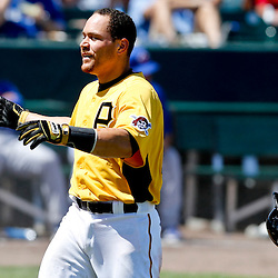 Mar 13, 2013; Bradenton, FL, USA; Pittsburgh Pirates catcher Russell Martin (55) reacts after being call out on a play at the plate to end the bottom of the third inning of a spring training game  against the Toronto Blue Jays at McKechnie Field. Mandatory Credit: Derick E. Hingle-USA TODAY Sports