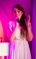 CARDIFF, WALES - Monday, October 6, 2014: Lucie Jones sings at the FAW Footballer of the Year Awards 2014 held at the St. David's Hotel. (Pic by David Rawcliffe/Propaganda)