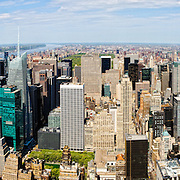 View from the top of the Empire State Building in New York City on a clear spring day.