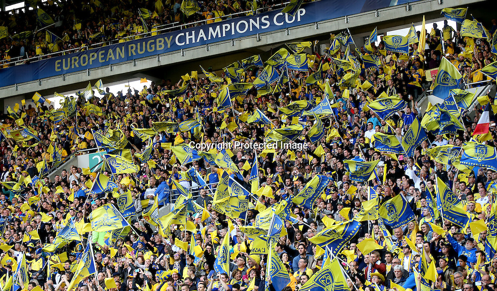 European Rugby Champions Cup Semi-Final, Stade Geoffroy-Guichard, Saint-Etienne, France 18/4/2015<br /> ASM Clermont Auvergne vs Saracens<br /> Clermont fans celebrate<br /> Mandatory Credit &copy;INPHO/James Crombie