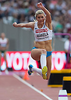 Athletics - 2017 IAAF London World Athletics Championships - Day Two (AM Session)<br /> <br /> Event: Triple Jump Women - Qualification<br /> <br /> Kristiina Makela (FIN) leaps between  phases of her jump <br /> <br /> COLORSPORT/DANIEL BEARHAM