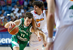 Goran Dragic of Slovenia vs Ricky Rubio of Spain during the fifth-place basketball match between National teams of Slovenia and Spain at 2010 FIBA World Championships on September 10, 2010 at the Sinan Erdem Dome in Istanbul, Turkey.   (Photo By Vid Ponikvar / Sportida.com)