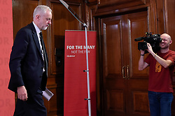 © Licensed to London News Pictures. 26/05/2017. London, UK. Jeremy Corbyn, Leader of the Labour party, departs after giving a speech on democracy in central London, in solidarity with the victims of the terrorist attack in Manchester.  Photo credit : Stephen Chung/LNP