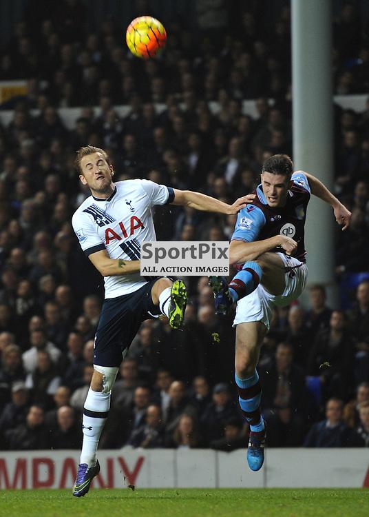 Tottenhams Harry Kane and Aston Villas Cieran Clark in action during the Tottenham v Aston Villa match in the Barclays Premier League on the 2nd November 2015