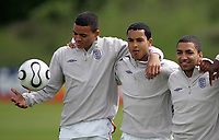 Photo: Paul Thomas.<br /> England Training Session. 01/06/2006.<br /> <br /> Jermaine Jenas, Theo Walcott and Aaron Lennon.