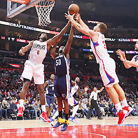 09 November 2015: Memphis Grizzlies forward Zach Randolph (50) vies for the rebound with Los Angeles Clippers center DeAndre Jordan (6) and Los Angeles Clippers forward Blake Griffin (32) next to Memphis Grizzlies center Marc Gasol (33) during the Los Angeles Clippers 94-92 victory over the Memphis Grizzlies, at the Staples Center, in Los Angeles, California, USA.