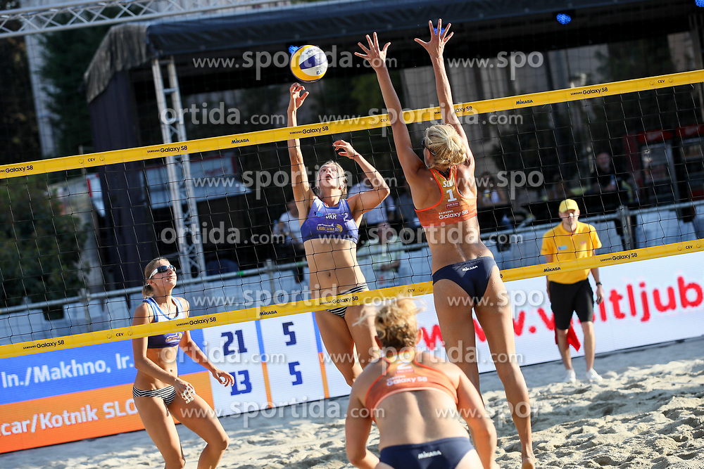 Inna Makhno and Iryna Makhno of Ukraine vs Tjasa Kotnik and Tjasa Jancar of Slovenia at Ljubljana Beach Volley 2017, on July 22, 2017 in Ljubljana, Slovenia. Photo by Matic Klansek Velej / Sportida