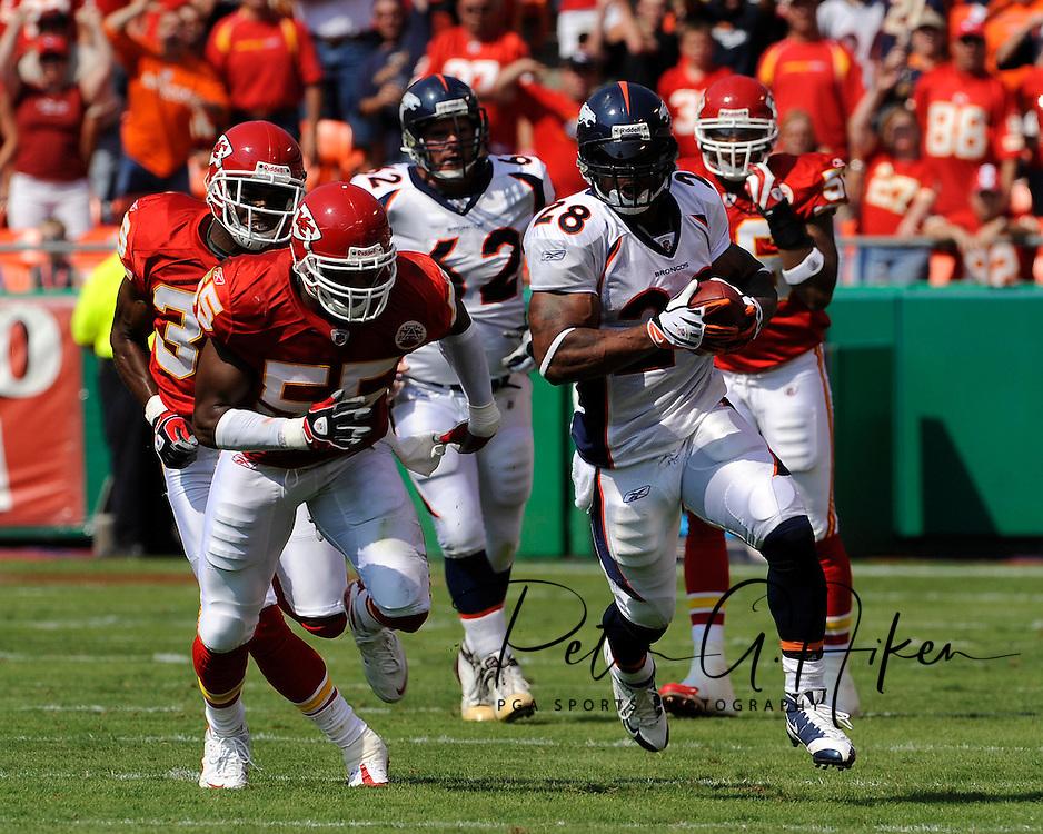 Running back Michael Pittman $28 of the Denver Broncos rushes past the Kansas City Chiefs defense for 40-yards in the second quarter at Arrowhead Stadium in Kansas City, Missouri on September 28, 2008.. ..