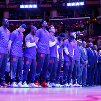 02 October 2015: Los Angeles Clippers players are seen  during national anthem prior to the Los Angeles Clippers 103-96 victory over the Denver Nuggets, in a preseason game, at the Staples Center, Los Angeles, California, USA.