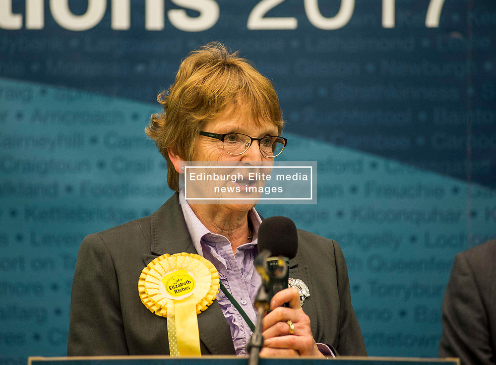 After a third recount in the North East Fife constituency the SNP's Stephen Gethins was elected  with a majority of 2, beating the Lib Dem's Elizabeth Riches. The count went on for almost 7 hours, resulting in counting staff sleeping at their positions. Elizabeth Riches is pictured after the result was announced.<br /> <br /> © Dave Johnston/ EEm