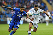 Nathaniel Mendez-Laing of Cardiff City and James Meredith of Millwallduring the EFL Sky Bet Championship match between Cardiff City and Millwall at the Cardiff City Stadium, Cardiff, Wales on 28 October 2017. Photo by Andrew Lewis.