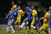 Gillingham FC defender Ryan Jackson (2) heads clear during the EFL Sky Bet League 1 match between Gillingham and AFC Wimbledon at the MEMS Priestfield Stadium, Gillingham, England on 21 February 2017.