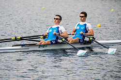 Isak Zvegelj and Urban Jerman during practice session of Slovenian Youth Rowing team for European Championship 2018, on May 20, 2018, in Bled, Slovenia. Photo by Vid Ponikvar / Sportida
