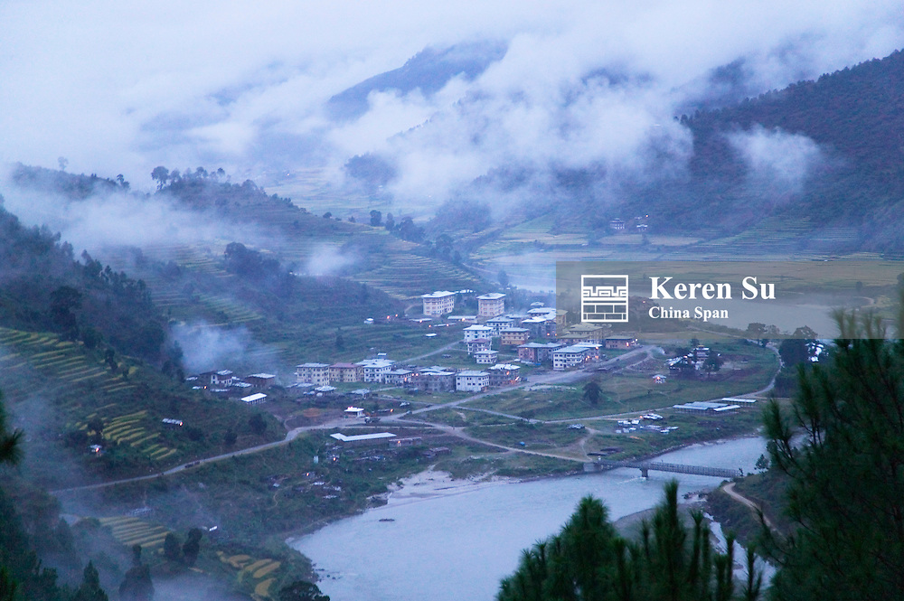 The town of Wangdi in Wangdi Valley by the river, Bhutan