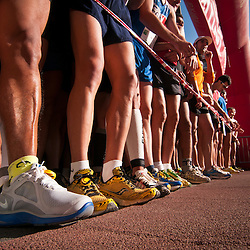 Runners line up for an annual 10k run in the Sants neighbourhood of Barcelona.