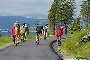Radfahrer und Wanderer, Dreisesselberg, Bayerischer Wald, Bayern, Deutschland | cyclists and walkers, Mt. Dreisessel, Bavarian Forest, Bavaria, Germany