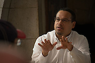 Washington, DC 3/12/2013. Rep. Keith Ellison (D-MN) speaks to supporters at Union Station rally.