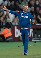 Football - 2017 / 2018 Premier League - West Ham United vs Stoke City<br /> <br /> Paul Lambert, Manager of Stoke City, acknowledges the fans at the London Stadium<br /> <br /> COLORSPORT/DANIEL BEARHAM