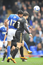 JONAS KNUDSEN IPSWICH TOWN, IPSWICH KEVIN BRU HOLDS OF FORESTS BOJAN JOKIC, Ipswich Town v Nottingham Forest, Sky Bet Championship, Portman Road Stadium, Saturday 5th March 2016.