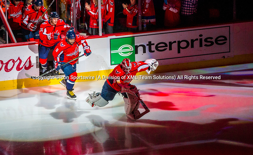 WASHINGTON, DC - MAY 21: Washington Capitals goaltender Braden Holtby (70) leads his team onto the ice before game 6 of the NHL Eastern Conference  Finals between the Washington Capitals and the Tampa Bay Lightning, on May 21, 2018, at Capital One Arena, in Washington D.C. The Caps defeated the Lightning 3-0<br /> (Photo by Tony Quinn/Icon Sportswire)