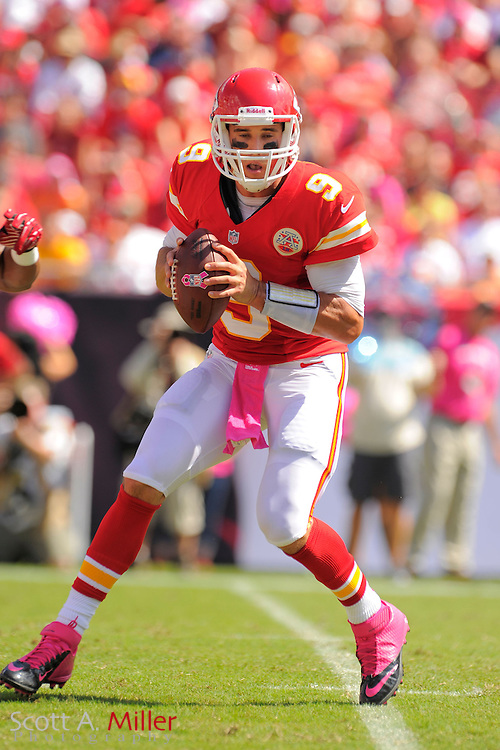 Kansas City Chiefs quarterback Brady Quinn (9) during the Tampa Bay Buccaneers 38-10 win over the Chiefs at Raymond James Stadium  on Oct. 14, 2012 in Tampa, Florida. ..©2012 Scott A. Miller...