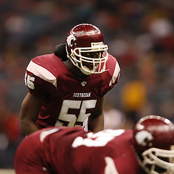 2008 December 13: Destrehan linebacker Rufus Porter lines up for a play during the Class 5A LHSAA State Championship game, a 14-3 victory by the Destrehan Wildcats over the West Monroe Rebels at the Louisiana Superdome in New Orleans, LA. On February 4, 2009 Porter signed to play college football with Louisiana Tech University. (photo by Derick Hingle)