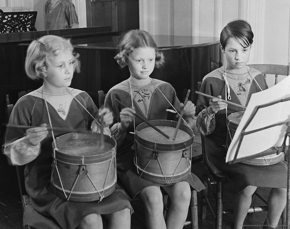 Schoolgirls Playing Drums, 1934