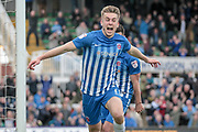 Rhys Oates (Hartlepool United) celebrates scoring his side's first goal to get the home team level. 1-1 during the EFL Sky Bet League 2 match between Hartlepool United and Carlisle United at Victoria Park, Hartlepool, England on 14 April 2017. Photo by Mark P Doherty.