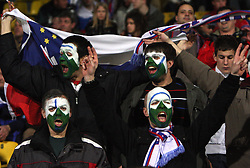 Fans of Slovenia at the 8th day qualification game of 2010 FIFA WORLD CUP SOUTH AFRICA in Group 3 between Slovenia and Czech Republic at Stadion Ljudski vrt, on March 28, 2008, in Maribor, Slovenia. Slovenia vs Czech Republic 0 : 0. (Photo by Vid Ponikvar / Sportida)