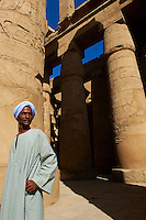 Egypte, Haute Egypte, vallée du Nil, Louxor, Karnak, classé Patrimoine Mondial de l'UNESCO, temple dédié au Dieu Amon, gardien du temple // Egypt, Nile Valley, Luxor, Thebes, Karnak Temple, UNESCO World Heritage Site, temple guard