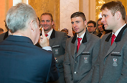 29.01.2014, Hofburg, Wien, AUT, Sochi 2014, Vereidigung OeOC, im Bild Bundespräsident Heinz Fischer, Georg Streitberger, Reinfried Herbst, Romed Baumann // Austrians President Heinz Fischer,  Georg Streitberger, Reinfried Herbst, Romed Baumann during the swearing-in of the Austrian National Olympic Committee for Sochi 2014 at the  Hofburg in Vienna, Austria on 2014/01/29. EXPA Pictures © 2014, PhotoCredit: EXPA/ JFK