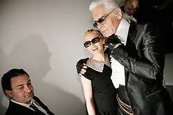 Australian singer Kylie Minogue attends the presentation of the 2007 Fall-Winter Haute-Couture collection by German designer Karl Lagerfeld for French fashion house Chanel at 'Pelouse de Saint Cloud' near Paris, France, on July 6, 2006. Photo by Nebinger-Taamallah/ABACAPRESS.COM