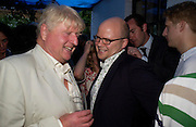 Stanley Johnson and Toby Young. Spectator party. Doughty St. London. 28 July 2005. ONE TIME USE ONLY - DO NOT ARCHIVE  © Copyright Photograph by Dafydd Jones 66 Stockwell Park Rd. London SW9 0DA Tel 020 7733 0108 www.dafjones.com