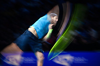 Tennis - 2019 Nitto ATP Finals at The O2 - Day Five<br /> <br /> Singles Group Bjorn Borg: Dominic Thiem (Austria) vs. Matteo Berrettini (Italy)<br /> <br /> Matteo Berrettini serves during his 2 set defeat of Dominic Thiem, 7-6, 6-3<br /> <br /> COLORSPORT/ASHLEY WESTERN