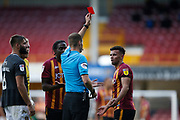 Referee Leigh Doughty shows a red card to Bradford City's Zeli Ismail(11) during the EFL Sky Bet League 2 match between Bradford City and Northampton Town at the Utilita Energy Stadium, Bradford, England on 7 September 2019.