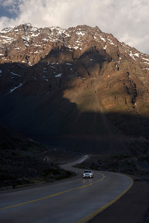 Road through Andes Mountains between Chile and Argentina