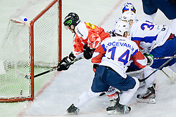 First goal for Switzerland scored by Ivo Ruthemann, on picture Daniel Steiner of Switzerland and puck crossing the line, during friendly ice-hockey match between Slovenia and Switzerland, on December 14, 2011 at Hala Tivoli, Ljubljana, Slovenia. (Photo By Matic Klansek Velej / Sportida)