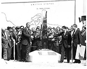 Lyndon B Johnson (1908-1973) President of the United States of  America and the Mexican President Adolfo  Lopez signalling the peaceful end of the Chamizal Issue. Mateos (1909-1969) unveiling the new boundary marker  In 1968, Congress established Chamizal National Memorial to commemorate the Chamizal Convention (treaty) of 1963.