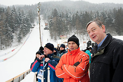 Joze Mermal of BTC and Danilo Tuerk, president of Republic of Slovenia  during Normal Hill Individual Competition at FIS World Cup Ski jumping Ladies Ljubno 2012, on February 12, 2012 in Ljubno ob Savinji, Slovenia. (Photo By Vid Ponikvar / Sportida.com)