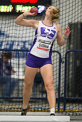 Windsor, Ontario ---2015-03-12--- Zarria Storm of  Western competes in the heptathlon shot put at the 2015 CIS Track and Field Championships in Windsor, Ontario, March 15, 2015.<br /> GEOFF ROBINS/ Mundo Sport Images
