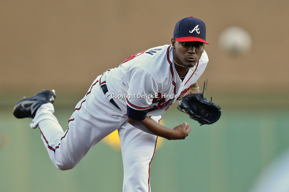 Mar 7, 2013; Lake Buena Vista, FL, USA; Atlanta Braves starting pitcher Julio Teheran (49) throws against the Detroit Tigers during the top of the first inning of a spring training game at Champion Stadium. Mandatory Credit: Derick E. Hingle-USA TODAY Sports